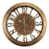 ufengke Reloj de Pared Vintage Europeo Bronce Reloj Quartz Silencioso Elegante con...