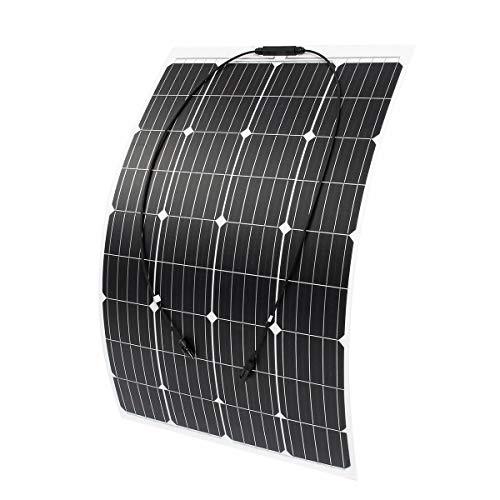 wccsolar Panel Solar Monocristalino Flexible 100W 12v Autocaravana, Caravana y Barco