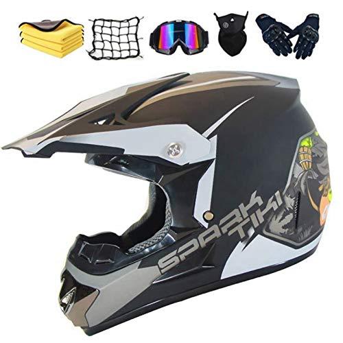 Casco de motocross para niño, con gorro, guantes, máscara, red elástica, para BMX, MTB, Quad Enduro, ATV, Scooter (E,XL)