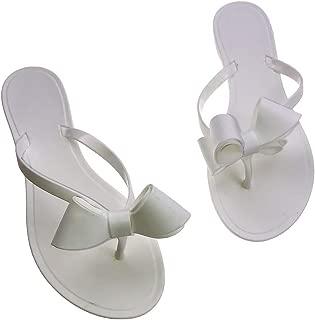 Women Ribbon Bow Sandals Flip Flops Narrow Strap