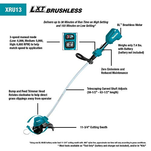Makita XRU13Z 18V LXT Lithium-Ion Brushless Cordless Curved Shaft String Trimmer, Tool Only,Teal