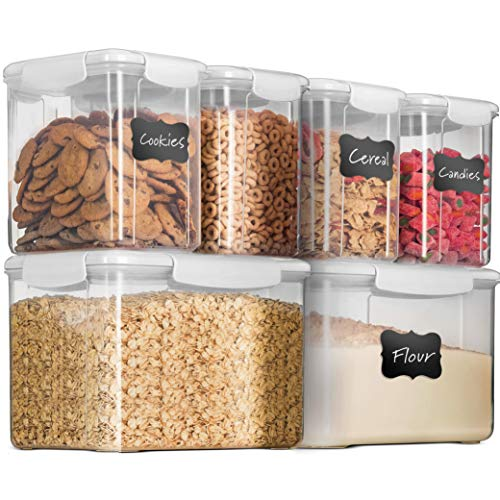 12-Piece Airtight Food-Storage Containers With Lids - BPA-FREE Plastic Kitchen Pantry Storage Containers - Dry-Food-Storage Containers Set For Flour, Cereal, Sugar, Coffee, Rice, Nuts, Snacks Etc.
