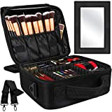 Kootek 2-Layers Travel Makeup Bag, Portable Train Cosmetic Case Organizer with Mirror Shoulder Strap Adjustable Dividers...