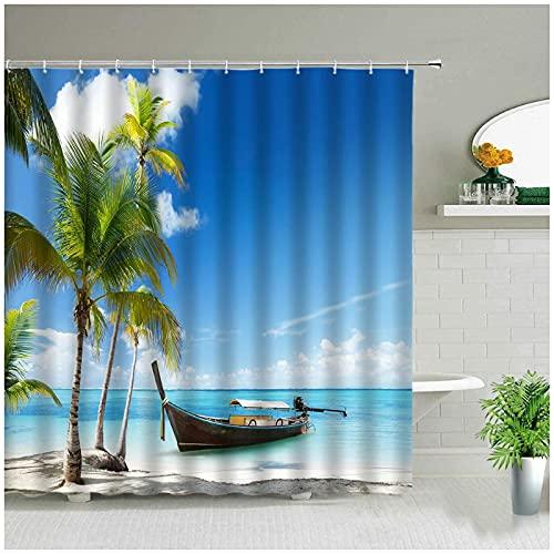 Strand Ozean Palme Fähre Landschaft Duschvorhänge Seesterne Meer Landschaft Badezimmer Wasserdichtes Tuch Badevorhang Mit Haken-180x180cm