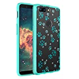 OnePlus 5T Case, Capsule-Case Hybrid Slim Hard Back Shield Case with Fused TPU Edge Bumper (Teal Mint Green) for OnePlus 5T - (Paw Print Green)