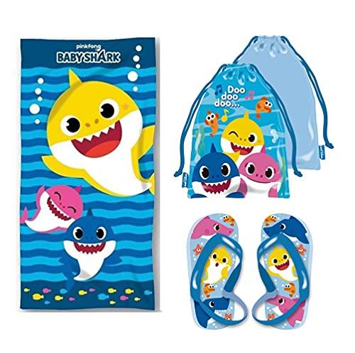 Baby Shark Pack Toalla de Playa Infantil y Sandalias niño, Toalla Infantil y Chanclas niños, Toalla Playa Grande. (Talla 22)