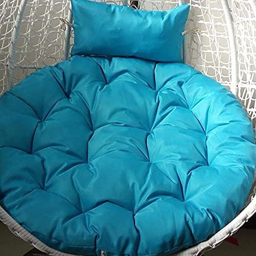 DIELUNY Cojines redondos acolchados para silla, cesta de respaldo para el hogar, transpirable, overstuffed Swing colgante balcón ratán mimbre silla Pads-azul cielo 103 x 103 cm