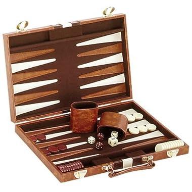 CHH 14.75  Recreational Board Game Vinyl Backgammon Set - Brown & White