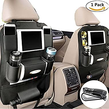 PALMOO Pu Leather Car Seat Back Organizer and iPad mini Holder, Universal Use as Car Backseat Organizer for Kids, Storage Bottles, Tissue Box, Toys (1 Pack, Black)