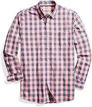 Amazon Brand - Goodthreads Mens Standard-Fit Long-Sleeve Gingham Plaid Poplin Shirt, pink/blue, Medium