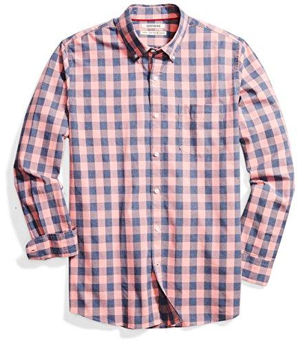 Amazon Brand - Goodthreads Mens Standard-Fit Long-Sleeve Gingham Plaid Poplin Shirt, pink/blue, X-Large