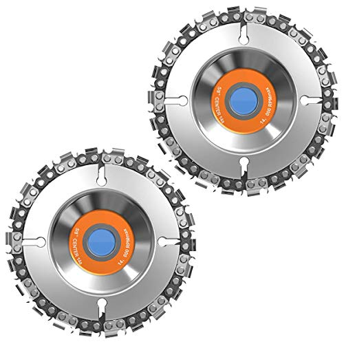 """FUNTECK 4 in.Grinder Disc 22-Teeth Steel Chainsaw Blade Wood Carving Disc for Cutting and Shaping, 5/8"""" Arbor, Fits 4"""" or 4-1/2"""" Angle Grinders, 2 Pack"""