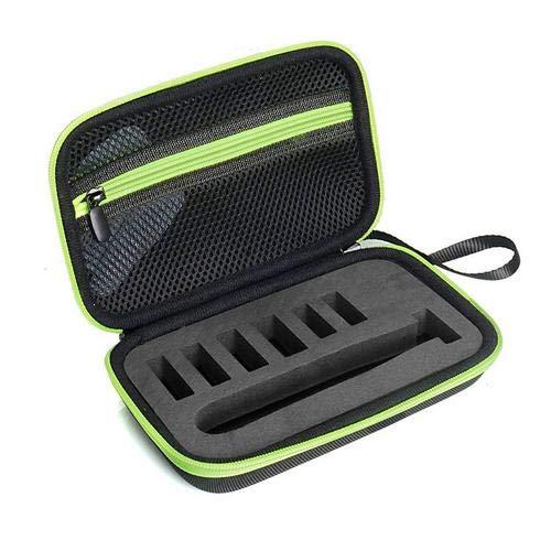 XuBa EVA caso para Phil-ips Norelco OneBlade eléctrica Trimmer y afeitadora QP2520/90 QP2520/70 Hard Shell Organizador Bolsa de almacenamiento verde Electrónica