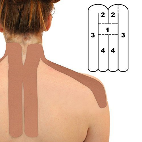2-Pack - Kindmax Precut Neck Support (Beige) - Kinesiology Tape for Neck Pain by Kindmax