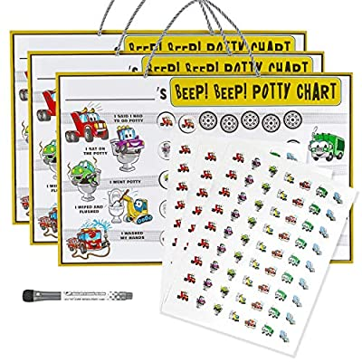 Beep! Beep! Potty Training Chart - 3 Charts with 189 Reward Stickers, Early Learning to Build Self Confidence, Fun and Easy Motivational Tool for Toddler Boys and Girls