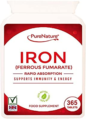 IRON Ferrous Fumarate 12 Month Supply 365 Easy to Swallow Rapid Absorption Maximum Strength Tablets Suitable for Vegetarians and Vegans FREE UK Delivery by Distributed by Be-Beautiful-Online