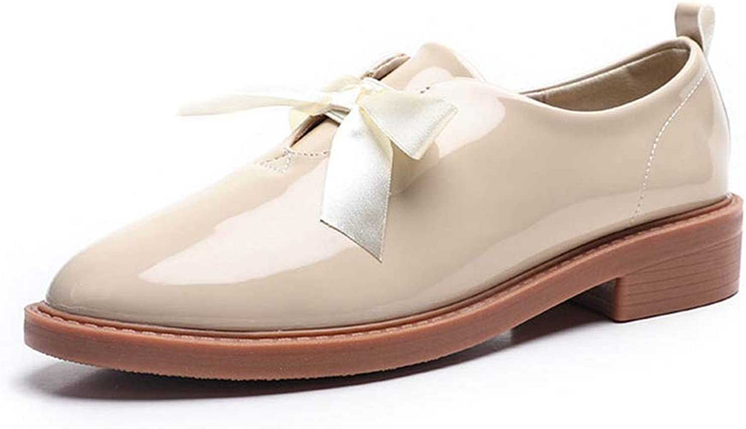 F-OXMY Women's Shiny Penny Loafer Comfort Casual Slip On Dress shoes Vintage Bowknot Oxfords shoes
