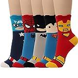 5 Pairs Movie Hero Socks Character Original Low cut Crew Ankle No Show Socks (5pairs-Crew Socks)