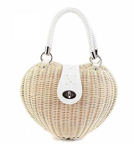 qiulv Borsa a mano a forma di cuore della borsa della paglia Handmade delle donne Tote Summer Weave piccola borsa da spiaggia borsa casuale del rattan, meters white