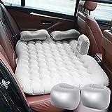 Cikonielf Colchón hinchable de PVC para asientos traseros de coche, con bomba de inflado, cama inflable, cama individual, inflable, de camping, 131 x 75 cm (gris)