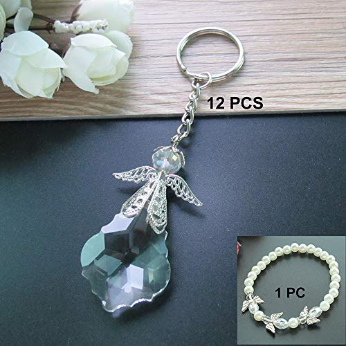 Crystal Angel Key Ring (12 Pcs) - Wedding Favors / Baptism Favors / Quinceanera Favors / First Communion Favors (Silver)