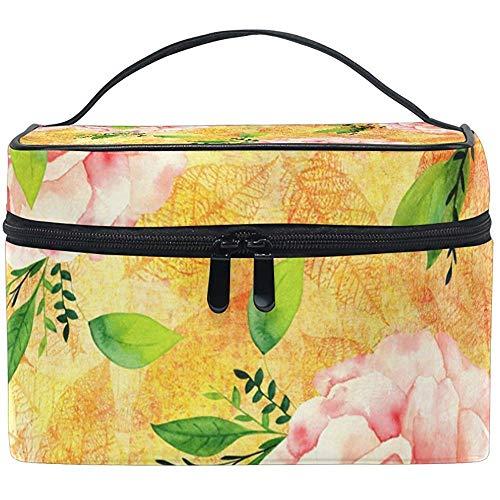 Sac cosmétique d'or jaune Rose Multifonction maquillage Kit de voyage voyage organisateur cas avec fermeture à glissière