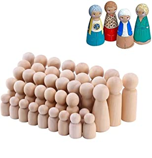 Mayplus 50pcs Wooden Peg Doll Bodies Unfinished People for Kids Painting, Graffiti, DIY Craft Art Projects,Peg Game, Decor...