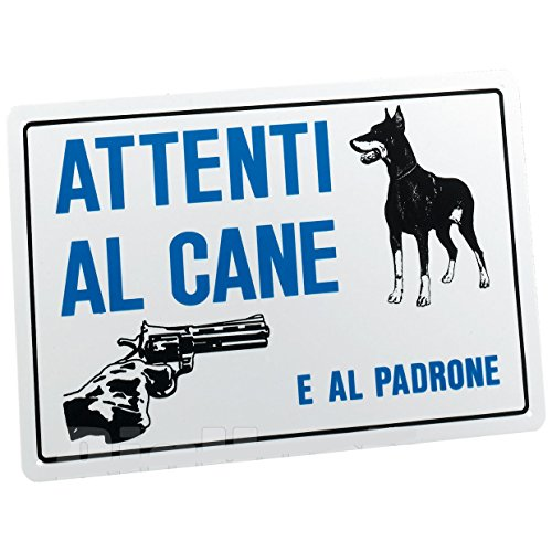 CARTELLO SEGNALETICO TARGA TABELLA PVC ATTENTI AL CANE E AL PADRONE 20x30