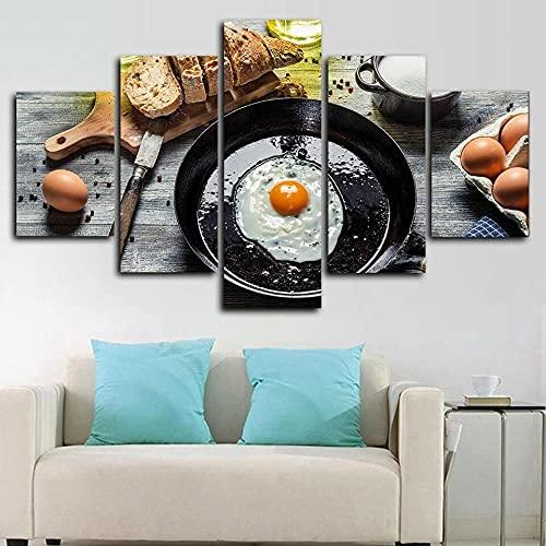 RTFGF Cuadros Decoracion dormitorios 5 Piezas Lienzo Desayuno Huevo Pan Cocina Alimentos Lienzo Impresión Cuadros Decoracion Salon para Dormitorios Modernos Mural Pared con Marco Tamaño:150 * 80cm
