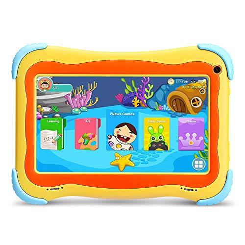 YUNTAB 7 Pollici Tablet per Bambini Android 8.1, CPU Quad Core, 1 GB RAM + 16 GB ROM,Touch Screen IPS,WiFi,Certificazione GMS,con l applicazione iwawa preinstallata(Gialla)