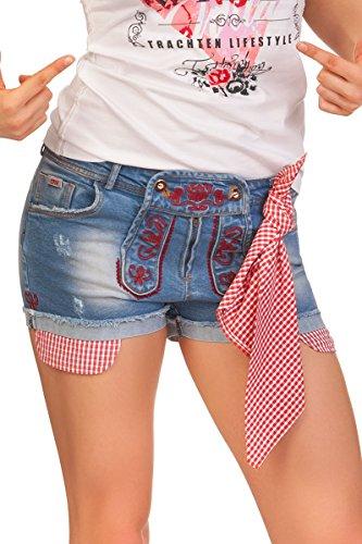 Spieth & Wensky Trachten Damen Jeanshose kurz - EOS - denimblau, grau, Größe 34
