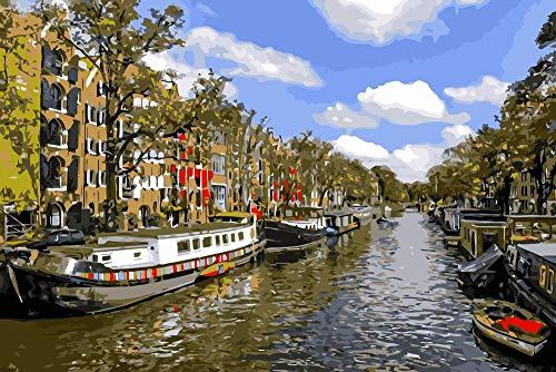 Wfmhra Amsterdam Canal Barge Paisaje Europeo Pintura al óleo Pintura acrílica Mural Regalo 60x90cm Sin Marco