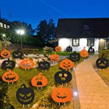Jetec 18 Pieces Halloween Pumpkin Silhouette Yard Sign Stakes Outdoor Halloween Black Orange Pumpkin Lawn Decorations with Stake Waterproof Corrugated Plastic Sign for Halloween