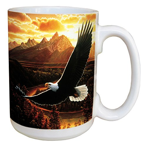 Tree-Free Greetings Soaring Eagle 15 Ounce Ceramic Coffee Mug with Full Sized Handle, Multicolored