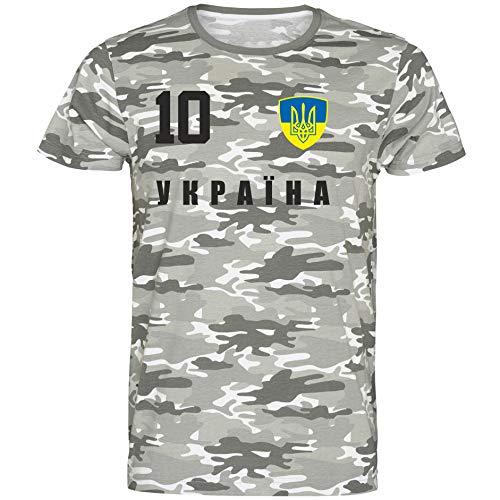 Nation Ukraine T-Shirt Camouflage Trikot Style Nummer 10 Army (XXL)