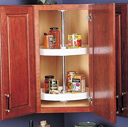 RICHELIEU White Polymer Round Corner Cabinet Lazy Susan 2-Shelf Kitchen Storage and Organizer 24 INCH