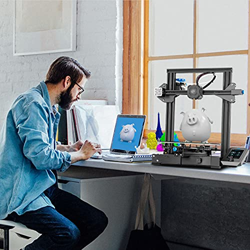 Creality Ender 3 V2 3D Printer Silent Mainboard Meanwell Power Supply Carborundum Glass Platform & Resume Printing 220x220x250mm with 200G PLA Filament Ideal for Beginners