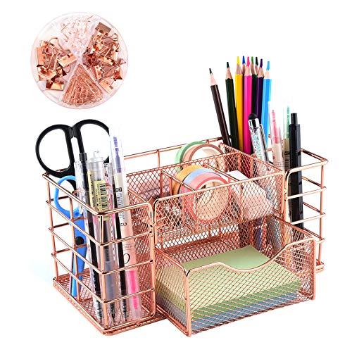 Organizador de escritorio de color oro rosa, organizador de suministros de oficina, organizador de escritorio multifuncional de metal con cajones para oficina, escuela y hogar