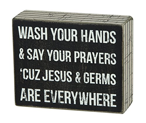 Primitives by Kathy Pinstripe Trimmed Box Sign, 5 x 4-Inches, Jesus & Germs