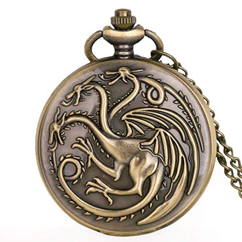 Pocket watch, Vintage Steampunk Quartz Pocket Watch Three-headed bird Dragon Men Women Necklace Pendant Clock