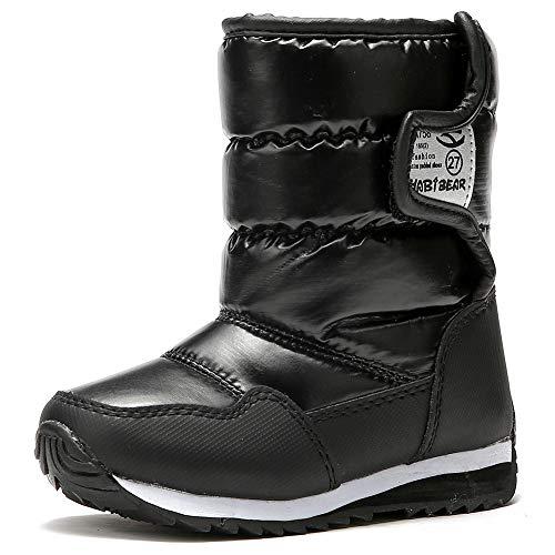 IceUnicorn Kinder Winterstiefel Jungen Mädchen Winterschuhe Schneestiefel Warm Gefütterte Outdoor Stiefel Winter Schuhe Snowboots(A758.Schwarz, 27EU)