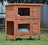 BUNNY BUSINESS Rabbit/Guinea Pig Outdoor Hutch, Double Decker Rabbit Hutches on legs BB-36-DDL