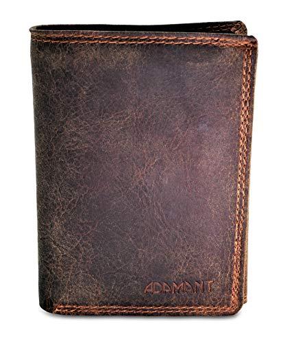 Adamant RFID - Portafoglio da uomo in vera pelle, con molti scomparti per carte di credito e portamonete con bottone automatico Marrone 4 vintage. 12,5cm x 9,5cm