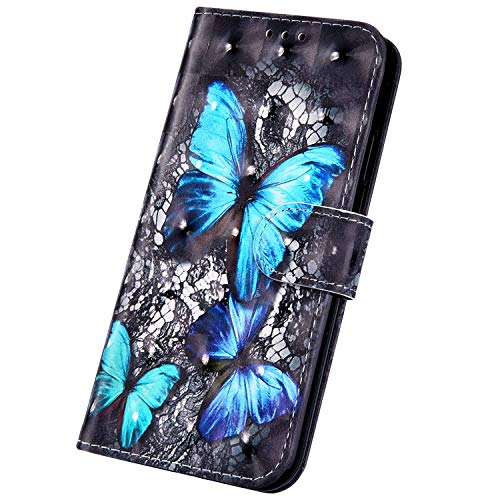 Surakey Coque Galaxy J8 2018 étui à Rabat en Cuir, 3D Effet Paillette Imprimé Motif Etui Housse Cuir PU Portefeuille Folio Flip Case Cover Wallet Coque pour Samsung Galaxy J8 2018 (Papillon Bleu)