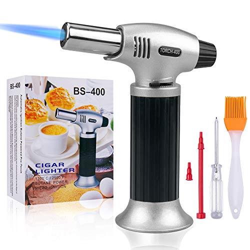 Gvoo Küchenbrenner Flambierbrenner Chef Kochfackel Feuerzeug,Butan nachfüllbar,Flamme einstellbar (MAX 2500°F) mit Sicherheitsverschluss für Kochen,Grillen,Backen,Brulee,Creme,Selbstlöten & mehr