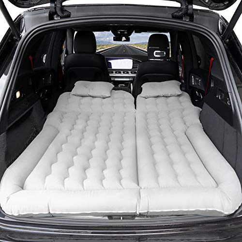 SUV Air Mattress, Inflatable Car Bed with Electric Pump and Pillow, Flocking Surface, Camping Sleeping Pad for Travel SUV Sedan Back Seat Trunk Tent Chevy Jeep Wrangler Toyota Honda Civic