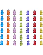 Smanzu Gummy Resin Bear Charms, Pack of 42 Candy Bear Pendants for DIY Jewelry Making Crafting(Assorted Colors)