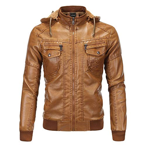 EverNight Men's Faux Leather Jacket,With Removable Hood Biker Jacket,Winter Zipper Buttons Fashion Coat,Brown,XXL