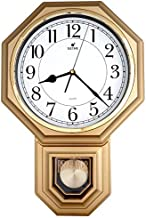 JUSTIME Traditional Schoolhouse Easy to Read Pendulum Plastic Wall Clock Chimes Every Hour with Westminster Melody Made in Taiwan (PP0266-WG Painted Gold)