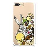 Funda para iPhone 7 Plus - iPhone 8 Plus Oficial de Looney Tunes Personajes Siluetas Transparente para Proteger tu móvil. Carcasa para Apple de Silicona Flexible con Licencia Oficial de Warner Bros.